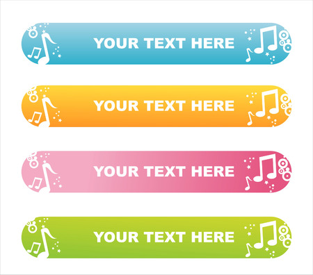 party banner:   set of 4 colorful musical banners Illustration