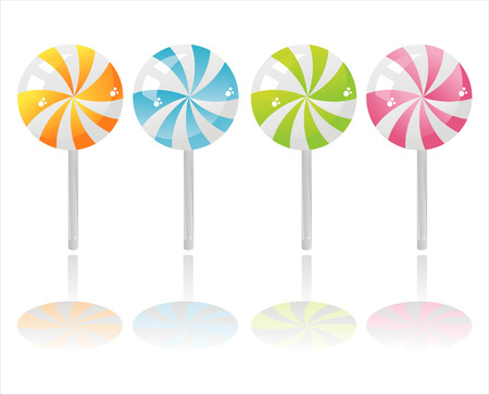 set of 4 colorful lollipops