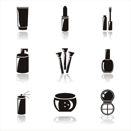 set of 9 black cosmetics icons Illustration