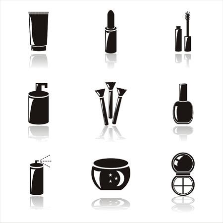 set of 9 black cosmetics icons Vector