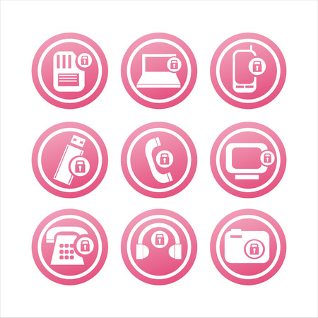 set of 9 technology with locks signs Vector