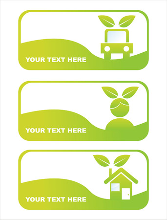 set of 3 green ecological banners Vector