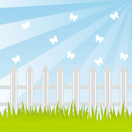 spring landscape with fence Vector