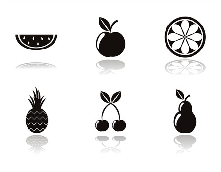 set of 6 black fruits icons