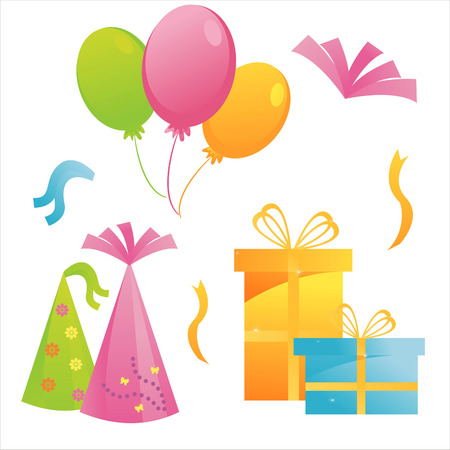 set of colorful birthday icons Vector