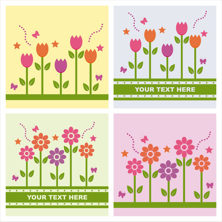 set of 4 cute spring backgrounds Illustration