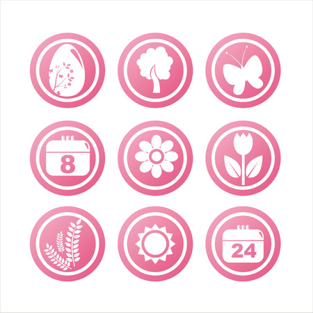 set of 9 pink spring signs Vector