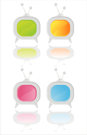 set of 4 colorful television icons Vector