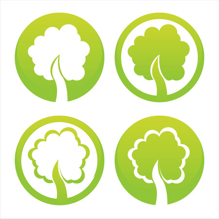 set of 4 green trees signs Vector