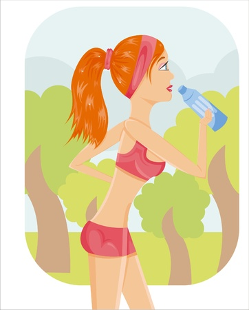 sporty girl drinking water outside Vector