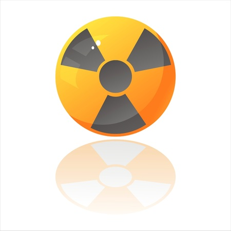 glossy nuclear sign isolated on white Stock Vector - 9130774