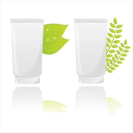 set of 2 natural creams with leaves Stock Vector - 9130796