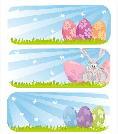 set of 3 colorful easter banners