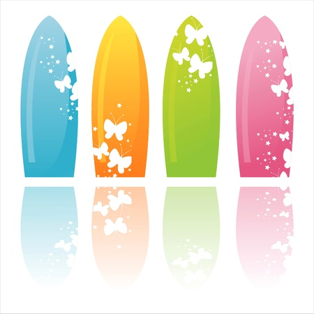 set of 4 colorful surfboards