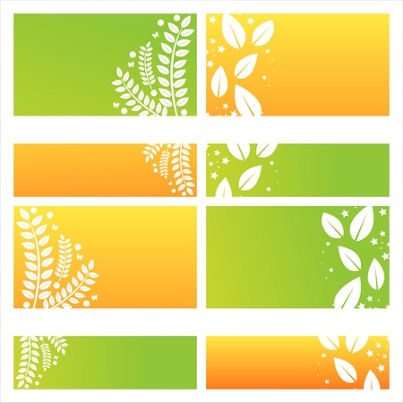 set of 4 modern leaves backgrounds Vector