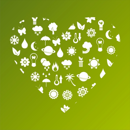 ecological heart made of icons Stock Vector - 9161943