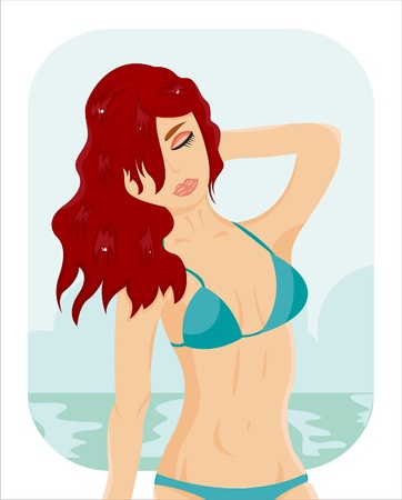 beach girl over sea landscape Vector