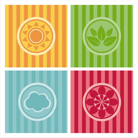 set of 4 cute nature backgrounds Vector
