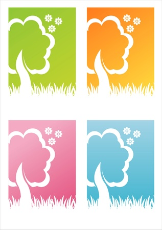 set of 4 colorful nature backgrounds Stock Vector - 9198207