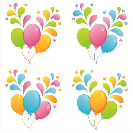set of 4 colorful balloons with splashes Illustration
