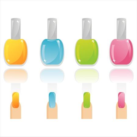 set of 4 glossy nail polish and nails Stock Vector - 9203272