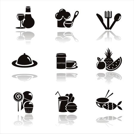 fork glasses: set di icone ristorante Nero 9