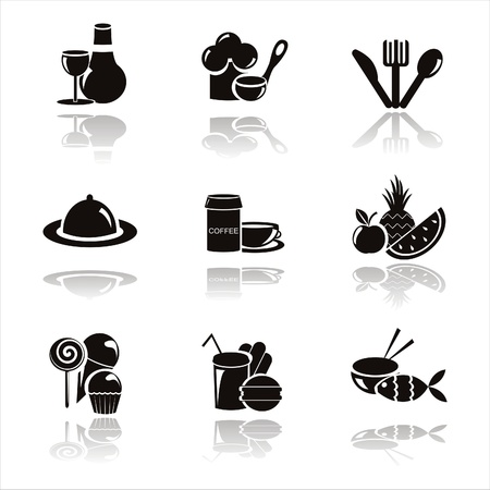 set of 9 black restaurant icons Illustration