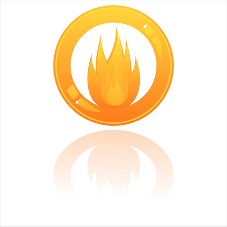 glossy fire button isolated on white Illustration