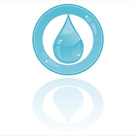 warm water:  glanzende vervolgkeuzeknop geïsoleerd op wit Stock Illustratie