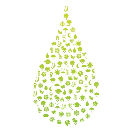 ecological drop made of icons Stock Vector - 9233527
