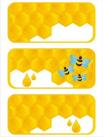 set of 3 glossy honeycombs banners Vector