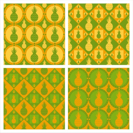 set of 4 cute pineapple patterns Vector
