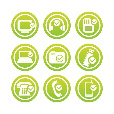 set of 9 green technology with checks signs Vector