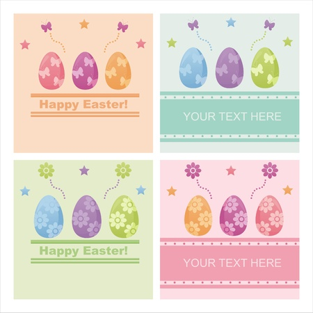 set of 4 cute easter backgrounds Vector