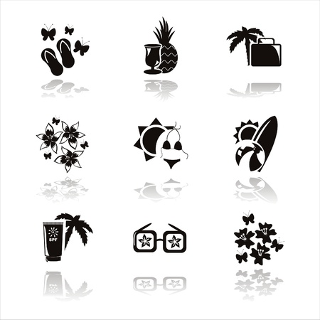 beach butterfly: set of 9 black summer vacation icons Illustration