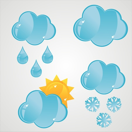 set of 4 glossy clouds icons Vector