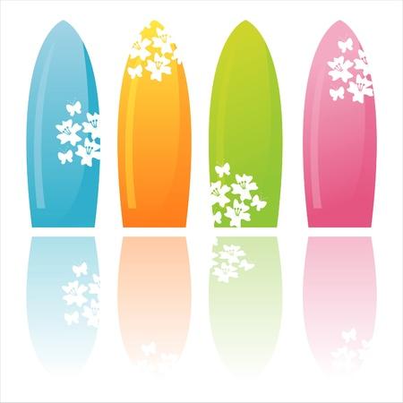surf board: conjunto de tablas de 4 Surf colores