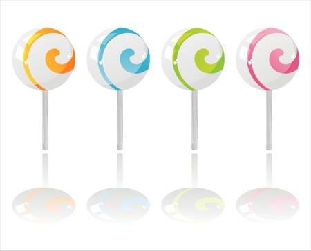 set of 4 colorful lollipops Vector
