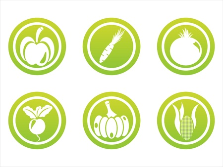 set of 6 green vegetables signs Vector