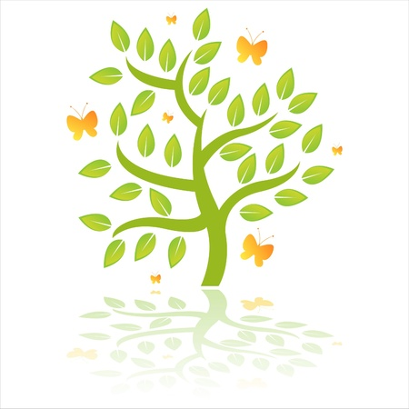 glossy green tree with butterflies Vector
