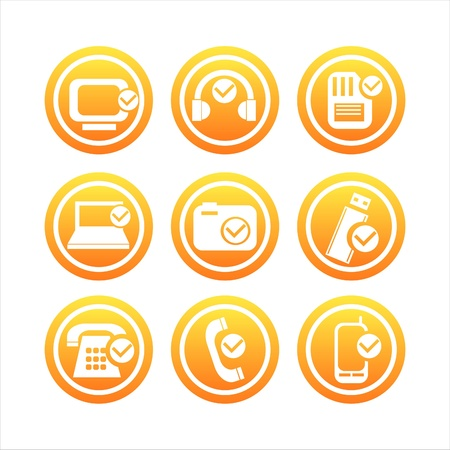 phone icon: set of 9 orange technology with checks signs