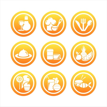vegetarian hamburger: set of 9 orange restaurant signs Illustration