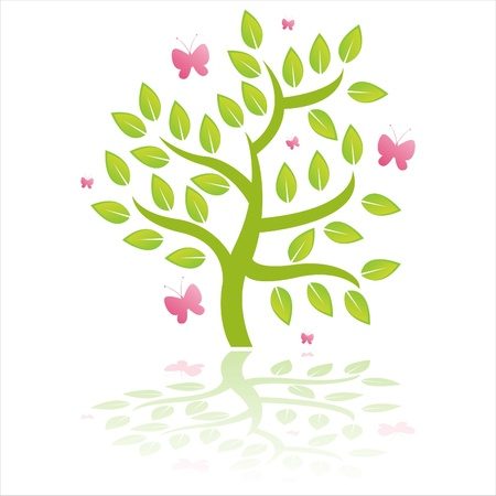 green tree with butterflies isolated on white Stock Vector - 9333183