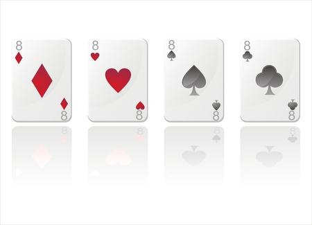 eights: conjunto de 4 tarjetas brillantes con ochos