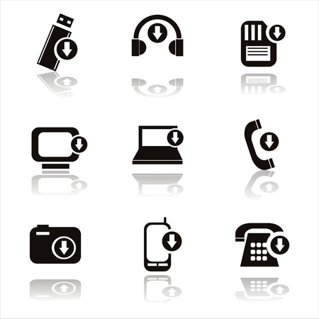 set of 9 black techology with arrows icons Illustration