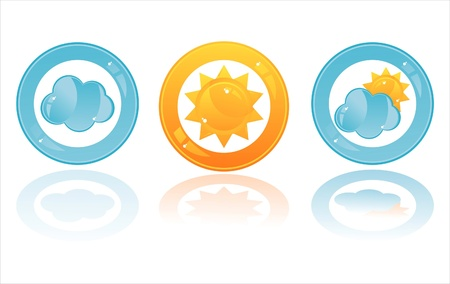set of 3 glossy weather buttons Vector