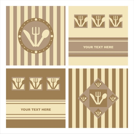 set of 4 cute restaurant backgrounds Vector