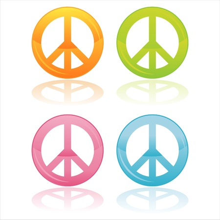 peace and love: set of 4 colorful peace symbols