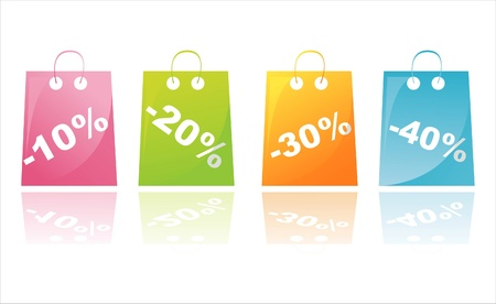 shopping bag icon:  set of 4 colorful shopping sale bags