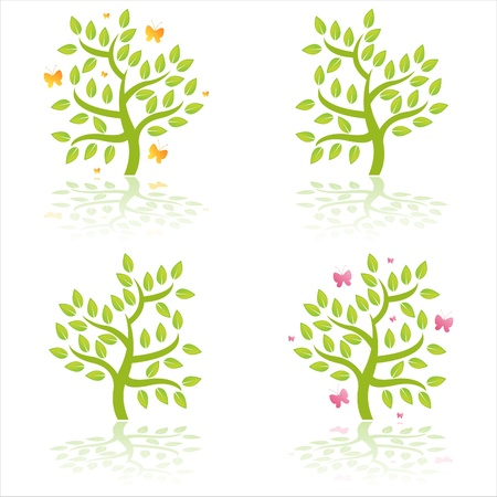 set of 4 glossy trees with butterflies Stock Vector - 9369763